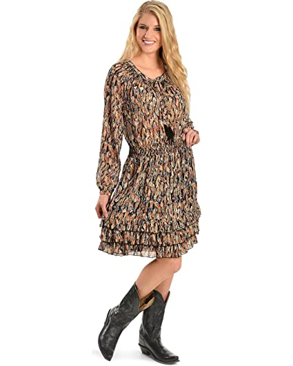 996d6f8e853 Scully Women s Feather Print Dress at Amazon Women s Clothing store
