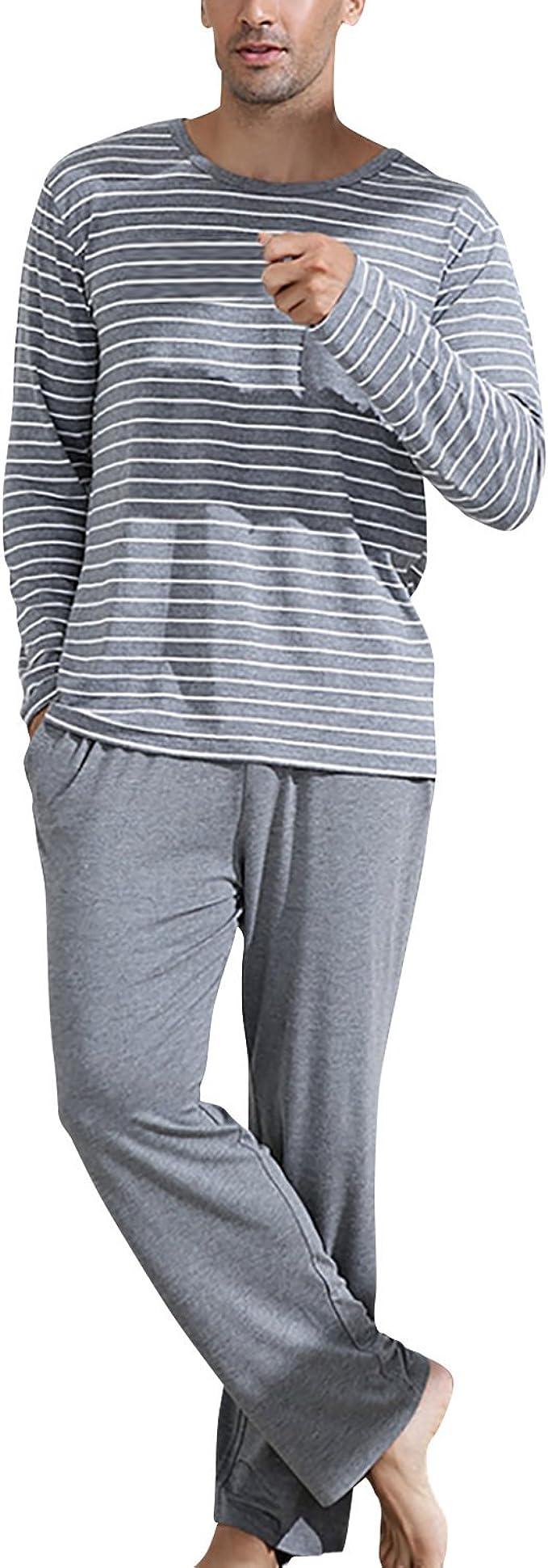 Dolamen Pijamas para Hombre, Pijamas Hombre Invierno, Hombre Camisones Pijamas de Parejas, Algodón Suave y cálido Manga Larga y Pantalones Largos