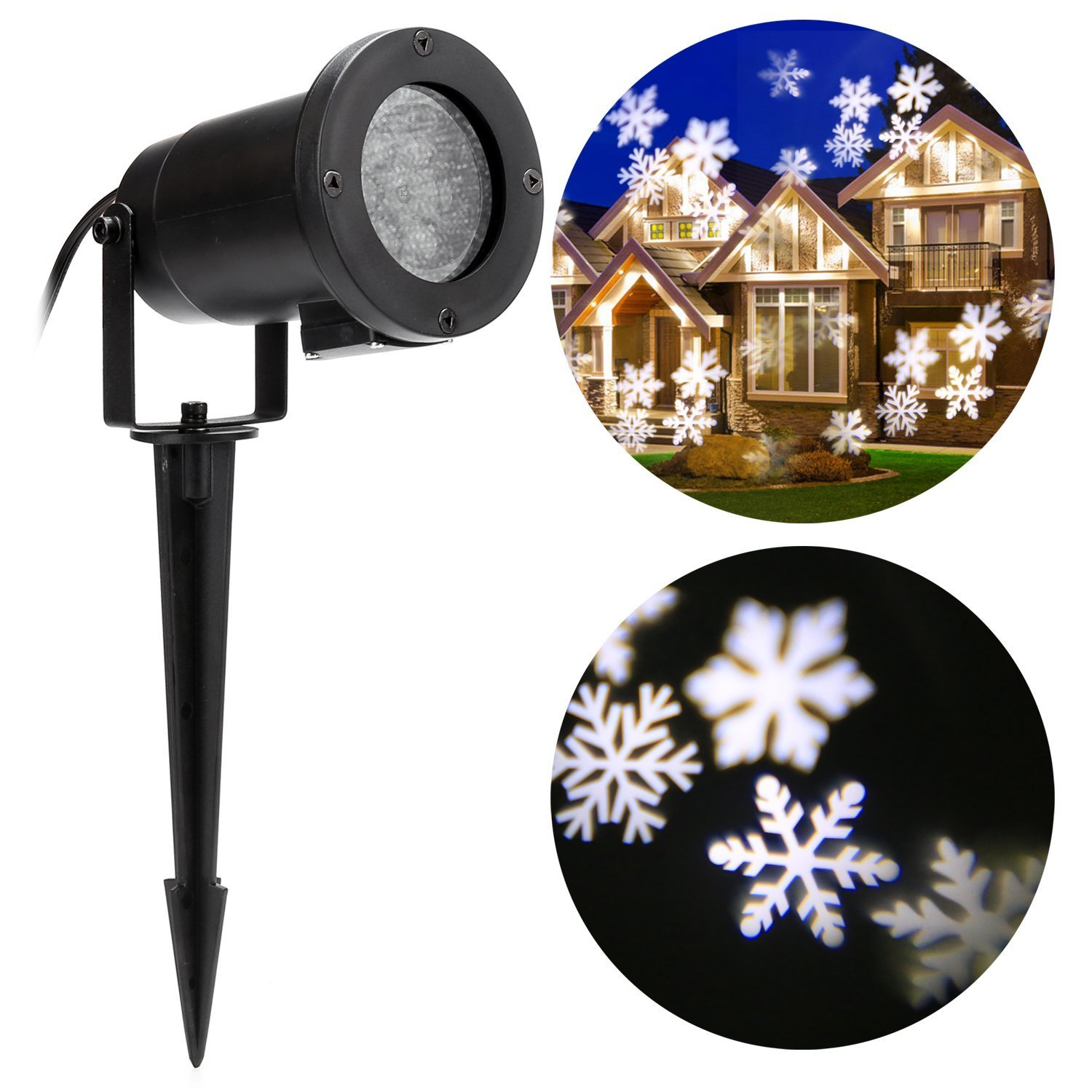 Christmas Projector Light 4 W Moving White Snowflake LED Landscape Projection Lamp Outdoor Indoor Waterproof Decor Spotlights for Party Holiday Home Garden Tree Wall