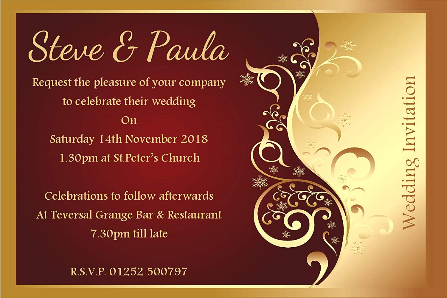 10 Personalised Red & Gold Wedding Invitations N25: Amazon.co.uk ...
