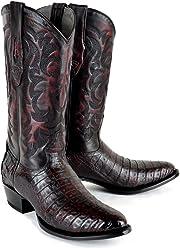 Original Black Cherry Caiman (Gator) Belly Skin Round Toe Boot