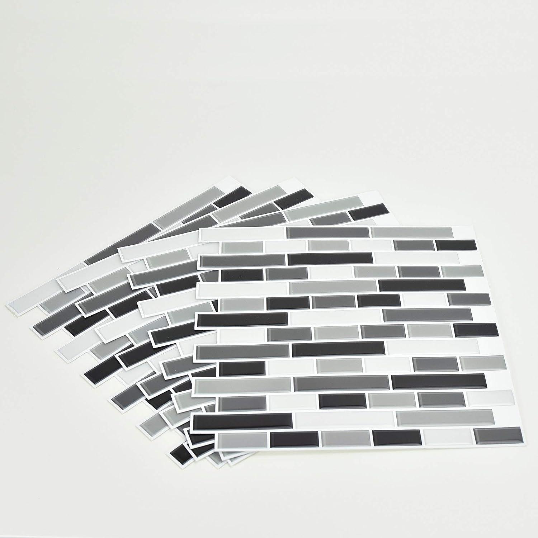 nero Inhome NH2362/Peel and Stick Backsplash piastrelle in vetro fum/é