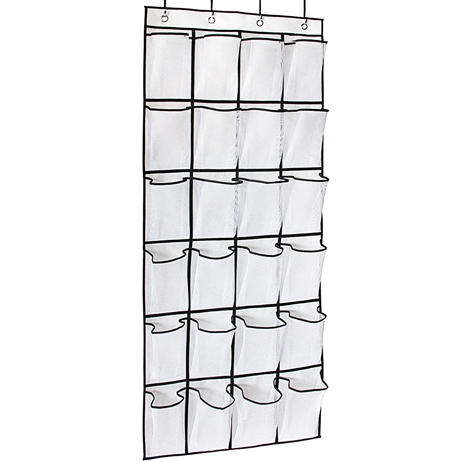 Freyry Over The Door Shoe Organizer 24 Large Mesh Pockets (White) USXZGD02MH