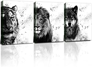 Gardenia art - Black and White Picture tiger lion and wolf face animal head wall decor for bedroom living room 12x16 in 3 pieces framed canvas print