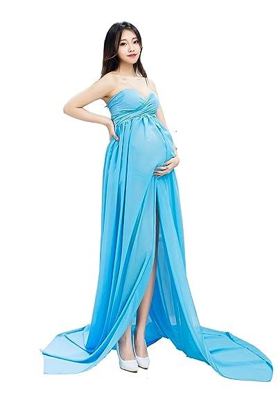 Hopeverl Vestido de maternidad de gasa Split Front Maxi vestido de maternidad de fotografía para la