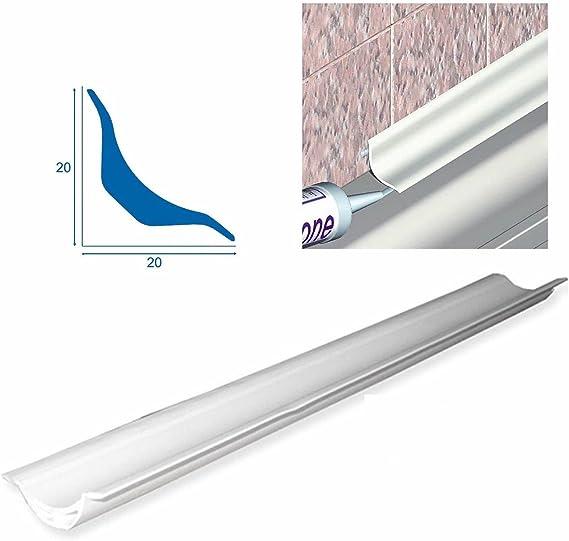 Perfil de PVC suave para baños, duchas y locales públicos, ángulo interno redondeado, largo 2,50 m: Amazon.es ...