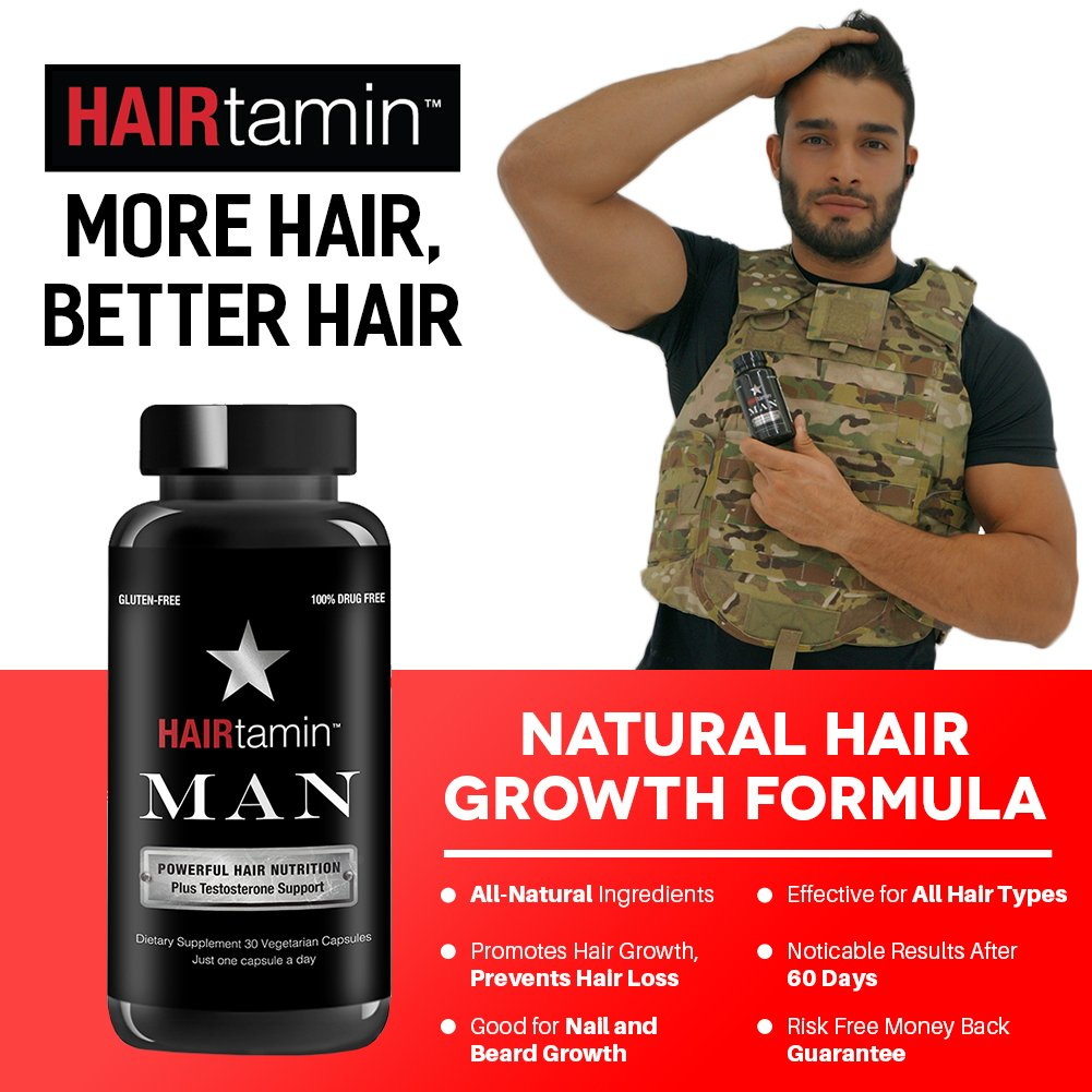 HAIRtamin Man Hair Growth Vitamins - Best Mens Biotin Fast Hair Growth Formula Vitamin Supplement for Thicker Fuller Healthier Hair and Beard Natural Daily Multi Vitamins (6 MONTH - 180 CAPSULES) by HAIRtamin (Image #2)