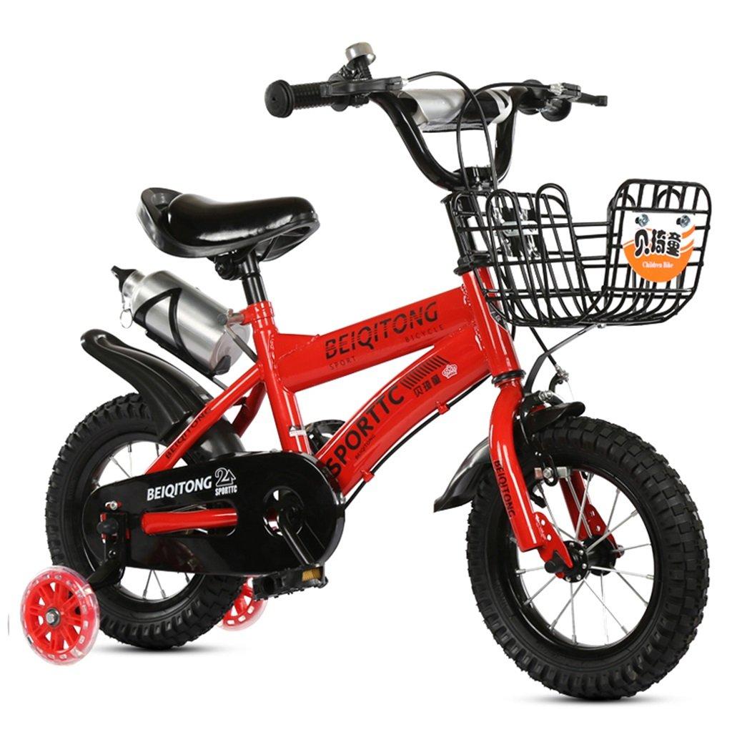 KANGR-子ども用自転車 子供用自転車適合2-3-6-8男の子と女の子子供用玩具屋外用マウンテンバイクハンドルバーとサドルはフラッシュトレーニングホイールで調節可能な高さにできますウォーターボトルとホルダー-12 14 16 18インチ 色 豊富な品 往復送料無料 : inches 赤 B07BTZFKY9 サイズ さいず