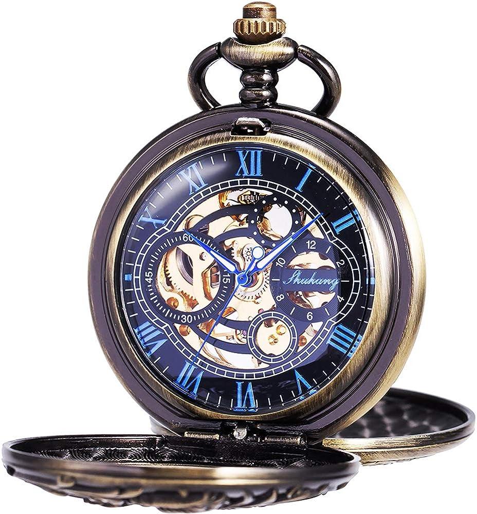 Reloj de Bolsillo - Dream Dragon ManChDa mecánico Skeleton Dial Negro Bronce Caja Doble con Cadena + Caja de Regalo (1. Bronce)