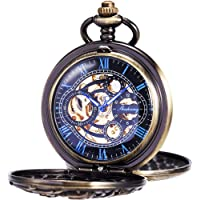 Reloj de Bolsillo para Hombre con Cadena Vintage Esqueleto Dream Dragon Burlywood Fob Reloj para Hombre y Mujer
