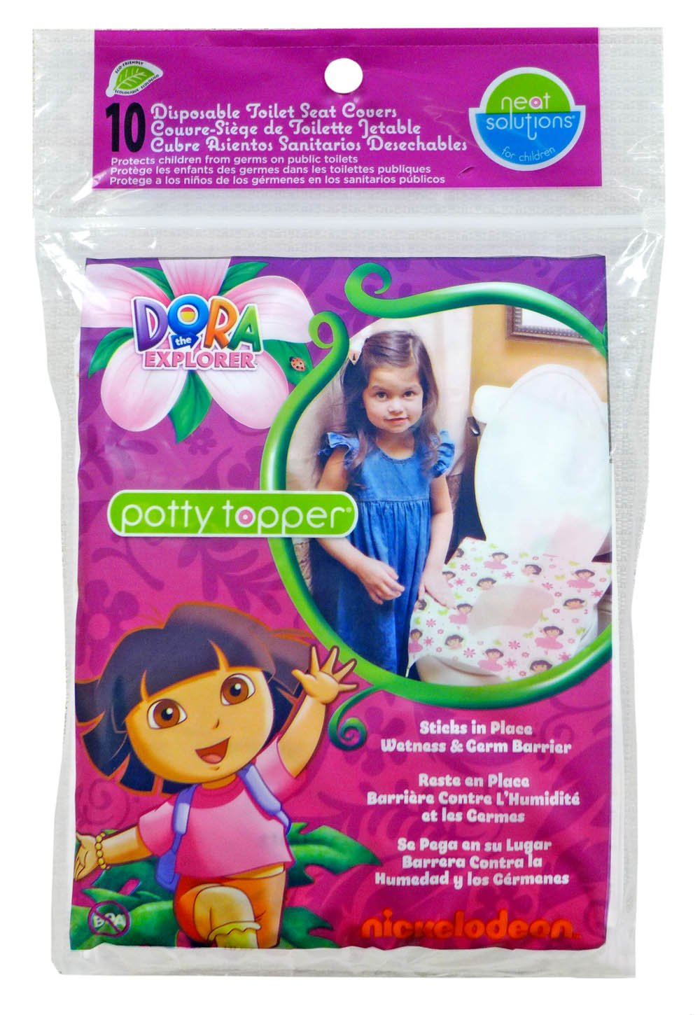 Neat Solutions Dora the Explorer Potty Topper Disposable Stick-in-Place Toilet Seat Covers, 10-Count