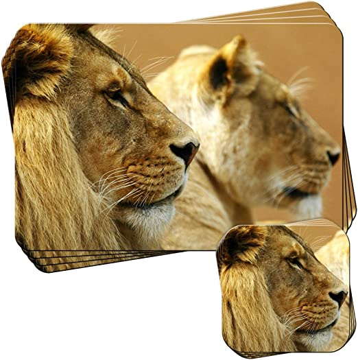 Amazon.com: Fancy A Snuggle Lions Face from Side View Set of 4 ...