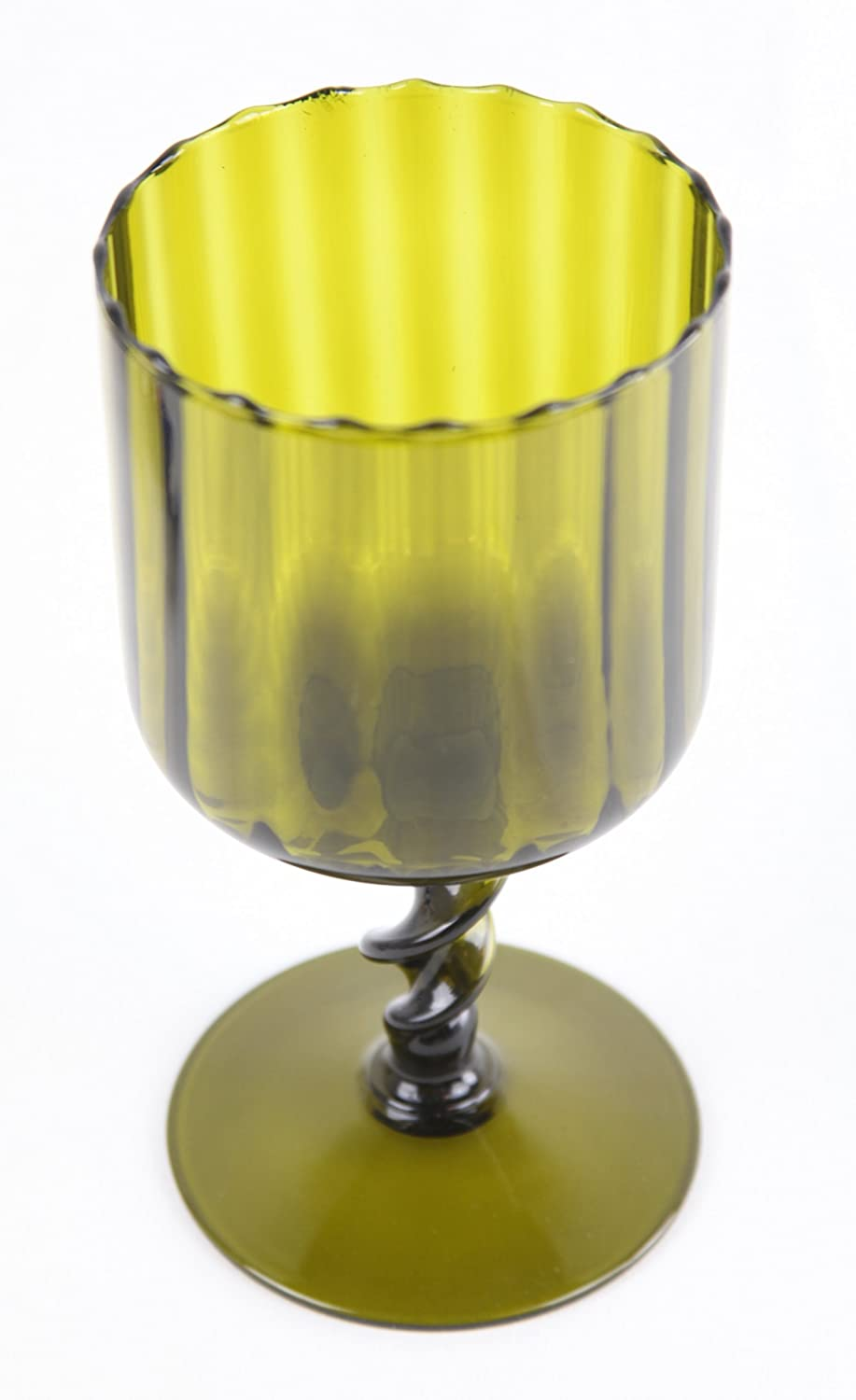 Vintage Avocado Green Glass Retro Twisted Stem Large Goblet Compote Dish