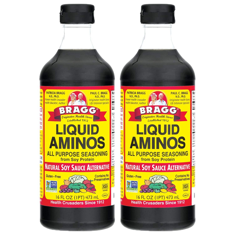 Bragg Liquid Aminos All Purpose Seasoning – Soy Sauce Alternative – Gluten Free, No GMO's, Kosher Certified, 16 ounce, 2 Pack