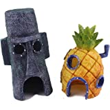 Ace Aquarium Ornaments, 2Pcs Fun Pineapple and Easter House for Fish Tank Decoration, Spongebob and Squidward House Figures, Eco-Friendly Resin Material   1421.1