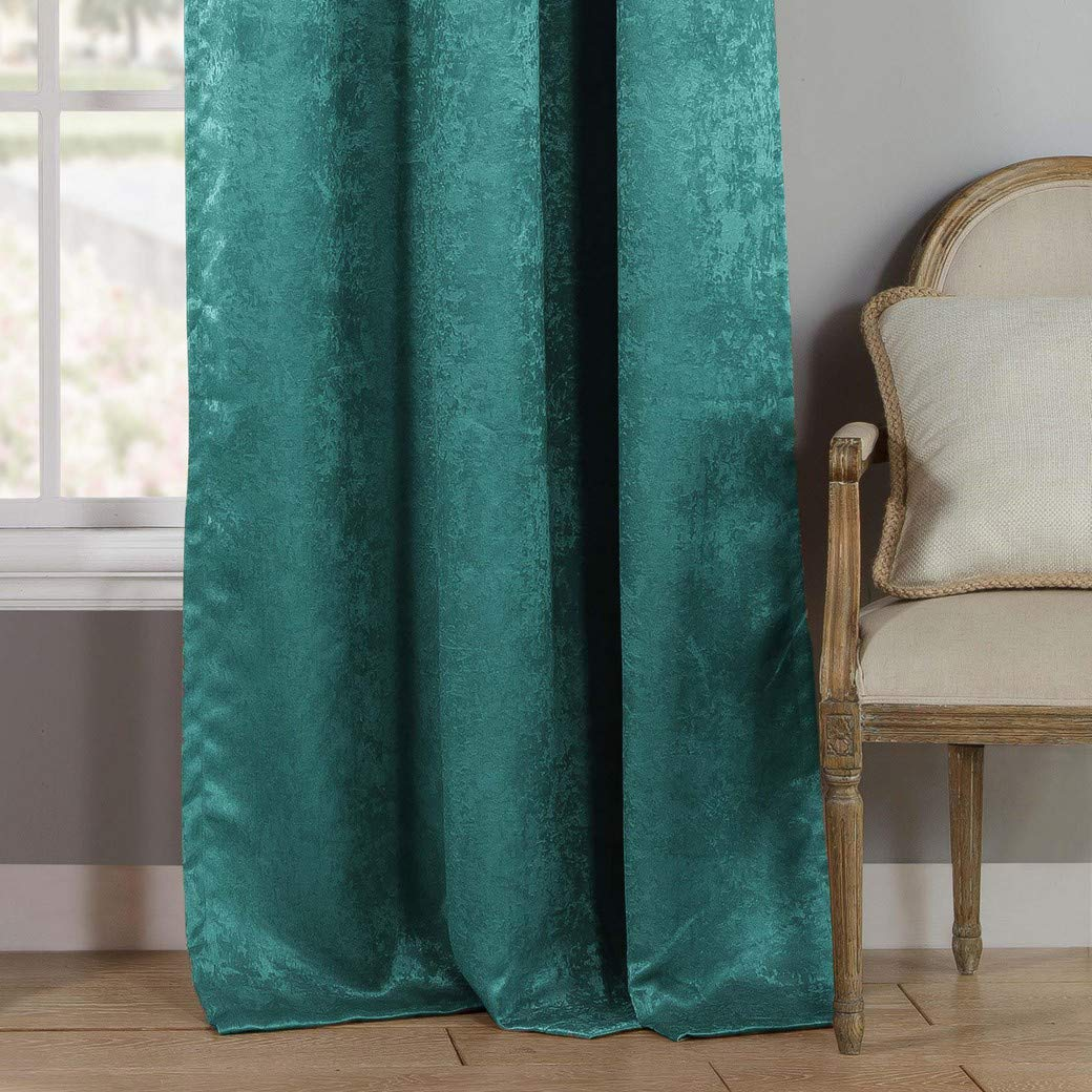 Set of 2 Panels Assorted Colors 27-28 X 63 Inch - Teal Steena Metallic Linen Textured Pole Top Window Curtains for Living Room /& Bedroom Duck River Textiles
