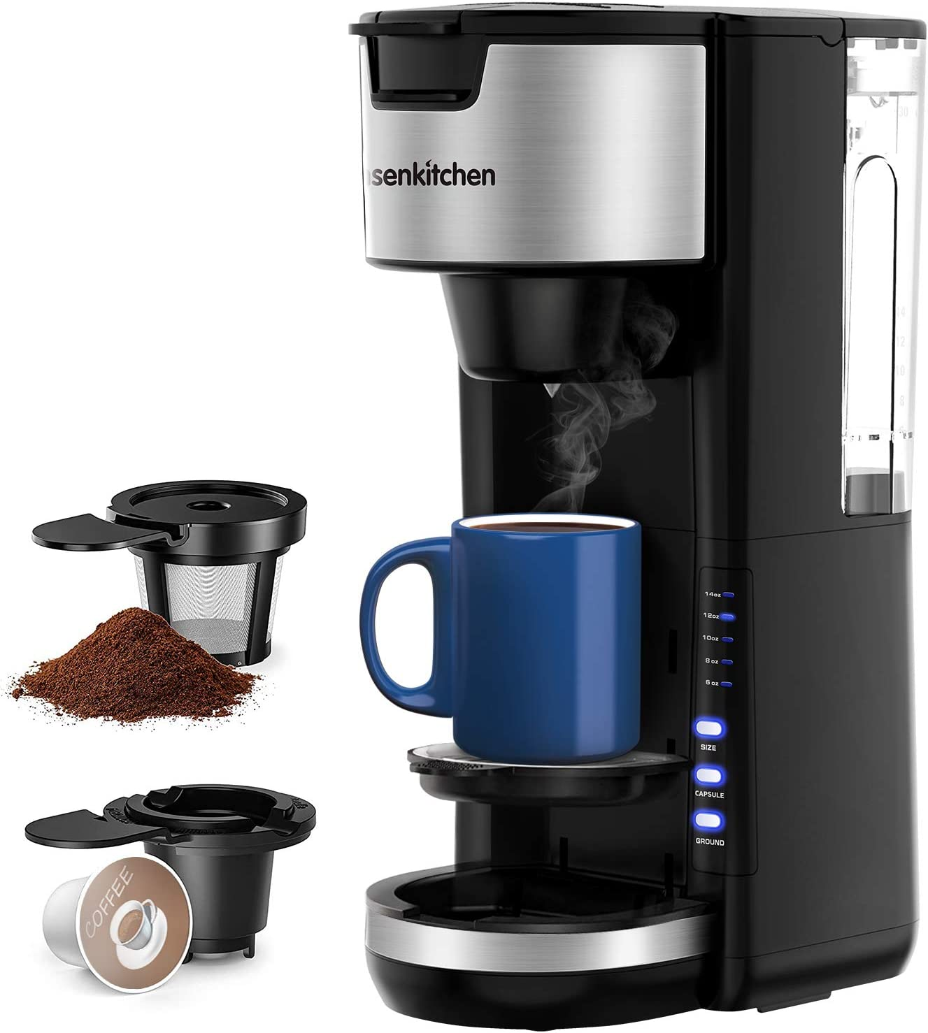 Amazon Com Singles Serve Coffee Makers For K Cup Pod Coffee Ground Mini 2 In 1 Coffee Maker Machines 30 Oz Reservoir Brew Strength Control Small Coffee Brewer Machine For Office Home