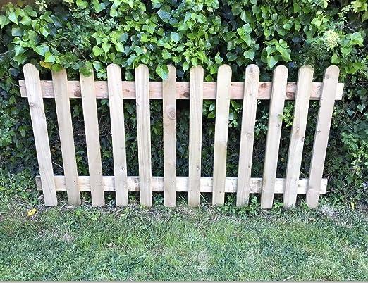 Panel de valla de jardín de 90 cm de alto x 1,8 m, de madera tratada a mano: Amazon.es: Jardín