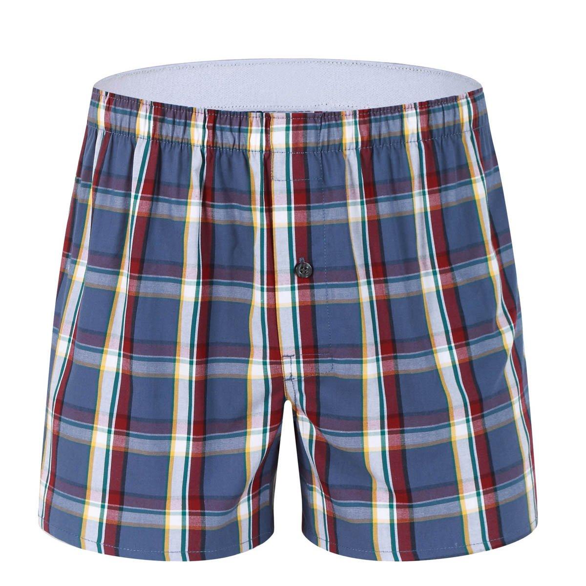 1-Pack Men's Colorful Woven Boxer Underwear 100% Cotton Premium Quality Shorts T3-X-Large