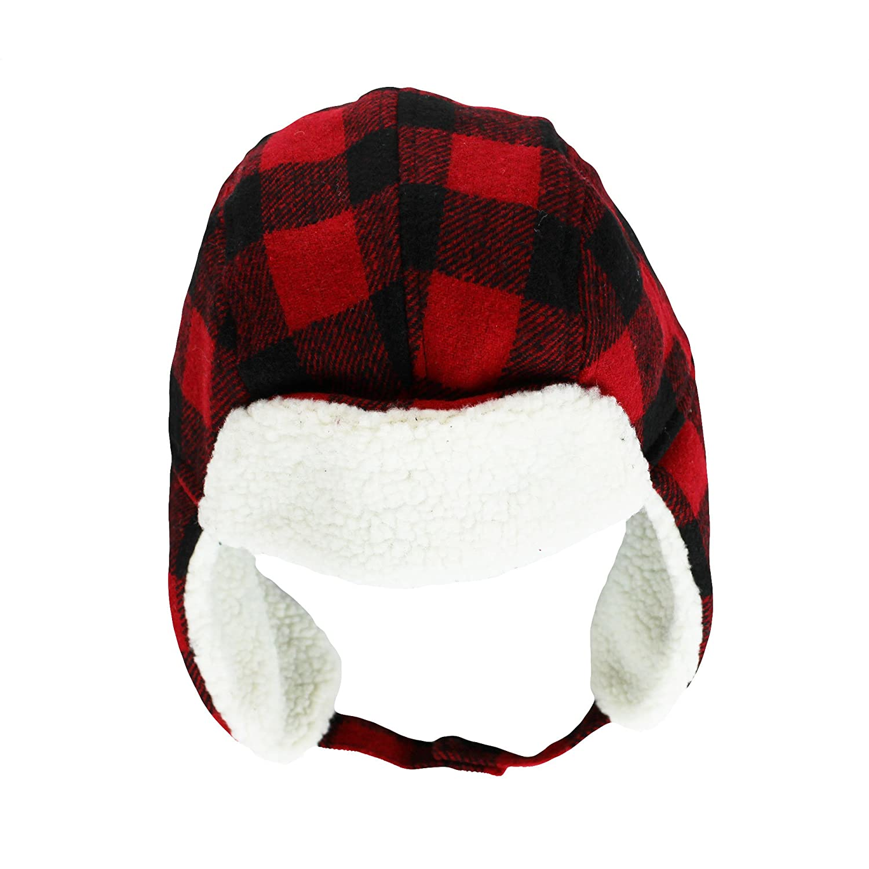 Amazon.com  OshKosh Plaid Flannel Boys Trapper Winter Hat With Sherpa Ear  Flaps Red Check  Baby 6e1e2833ec8