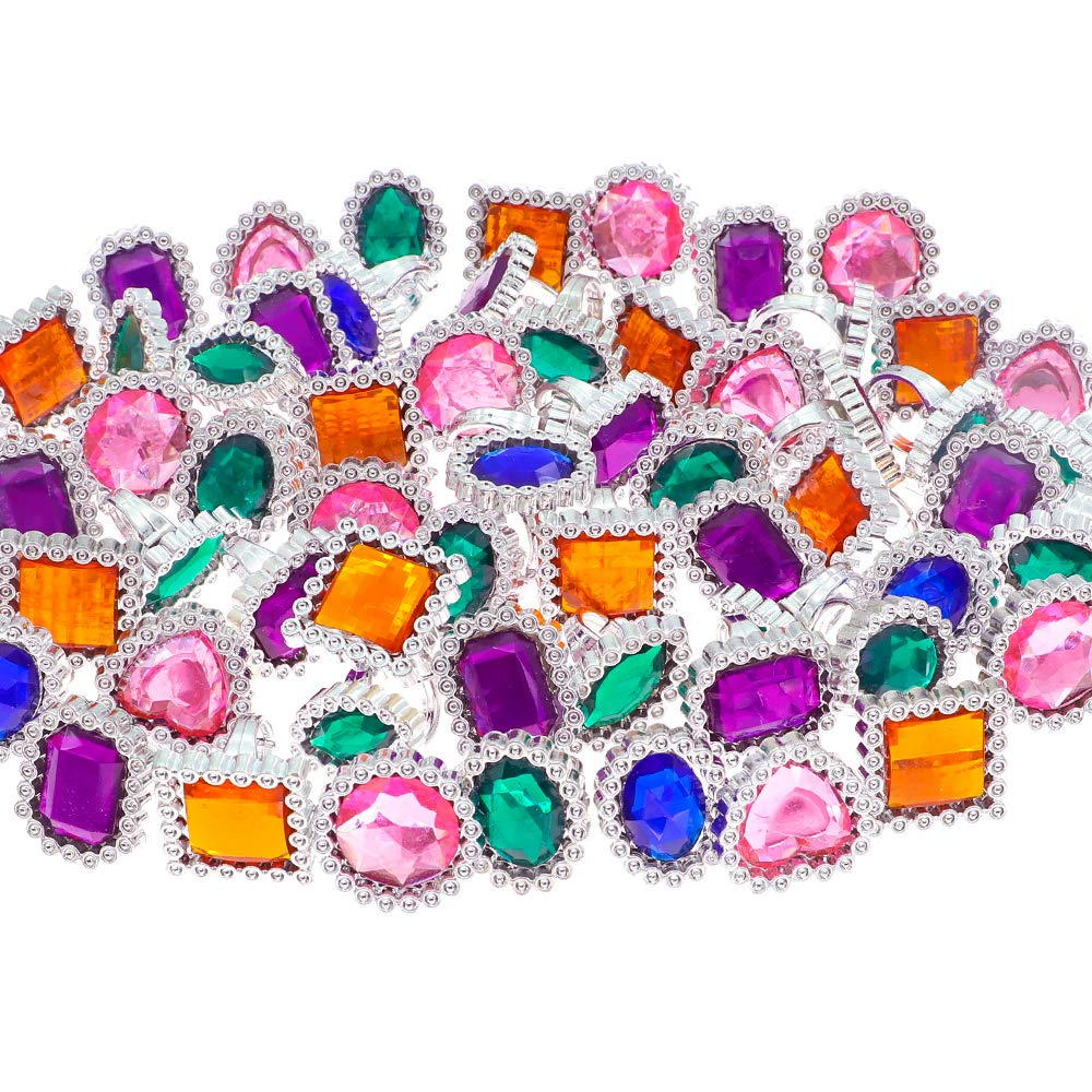 YIQIHAI 180pcs Plastic Colorful Rhinestone Rings, Kid's Gem Rings for Bridal Shower Game, Birthday and Pirates Party