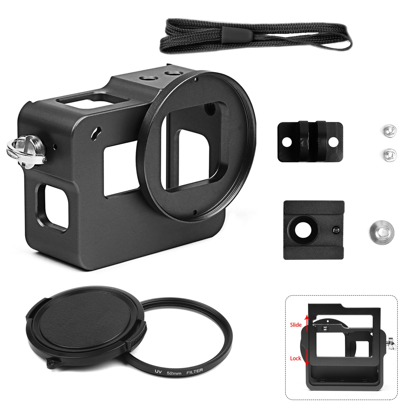 Shoot Metal Case for GoPro Hero 5/Hero(2018) Video and Vlog Creator, Aluminium Alloy Frame Housing Shell, with Rear Cover,52mm UV Filter, Hot Shoe(Black)