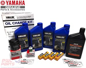YAMAHA OEM 2006-2013 F115 Outboard Oil Change 10W30 FC 4M Lower Unit Gear Lube Drain Fill Gasket NGK Spark Plugs LFR6A-11 Primary Fuel Filter Maintenance Kit