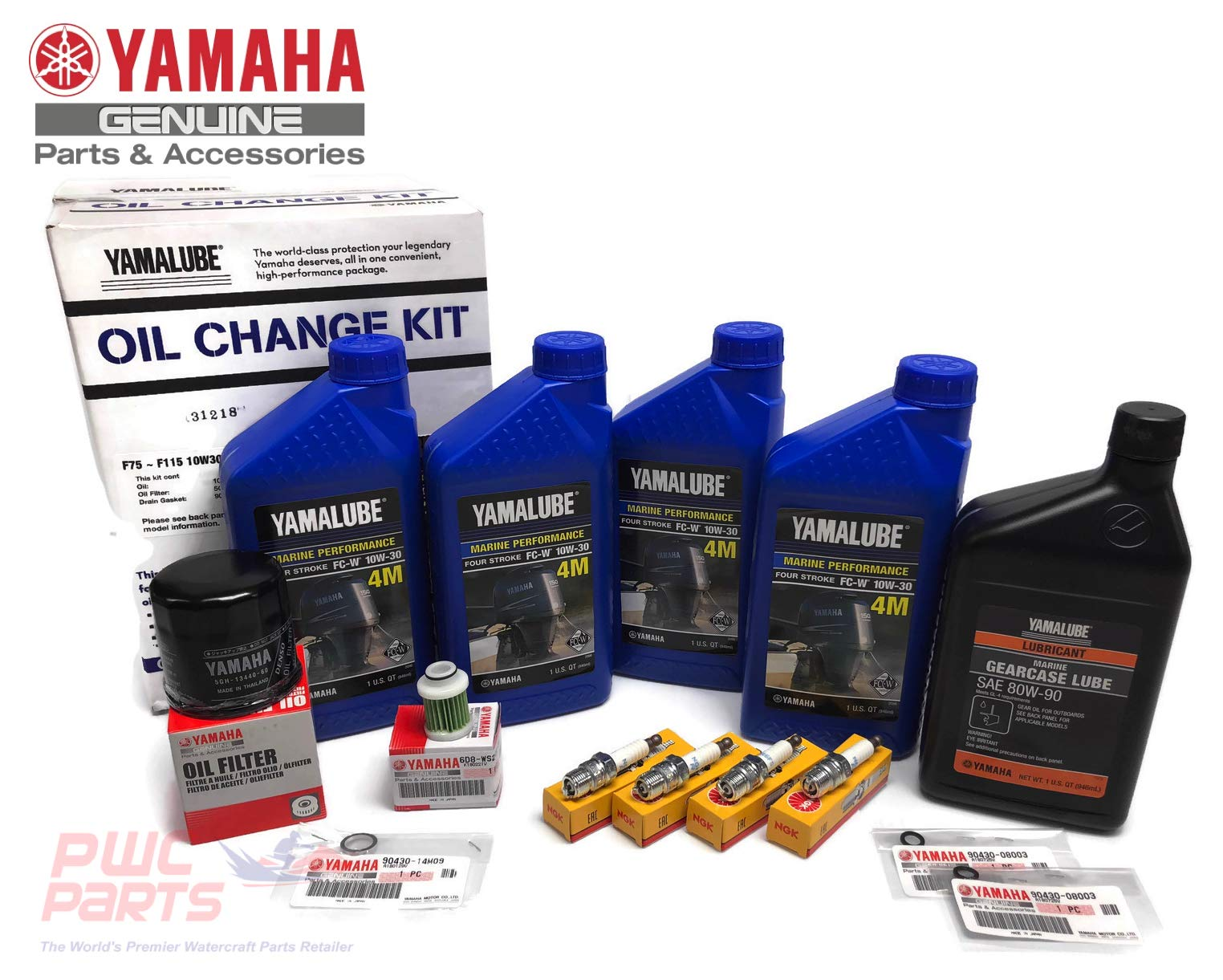YAMAHA 2000-2005 F115 Oil Change 10W30 FC 4M Lower Unit Gear Lube Drain Fill Gasket NGK Spark Plugs LFR6A-11 Maintenance Kit