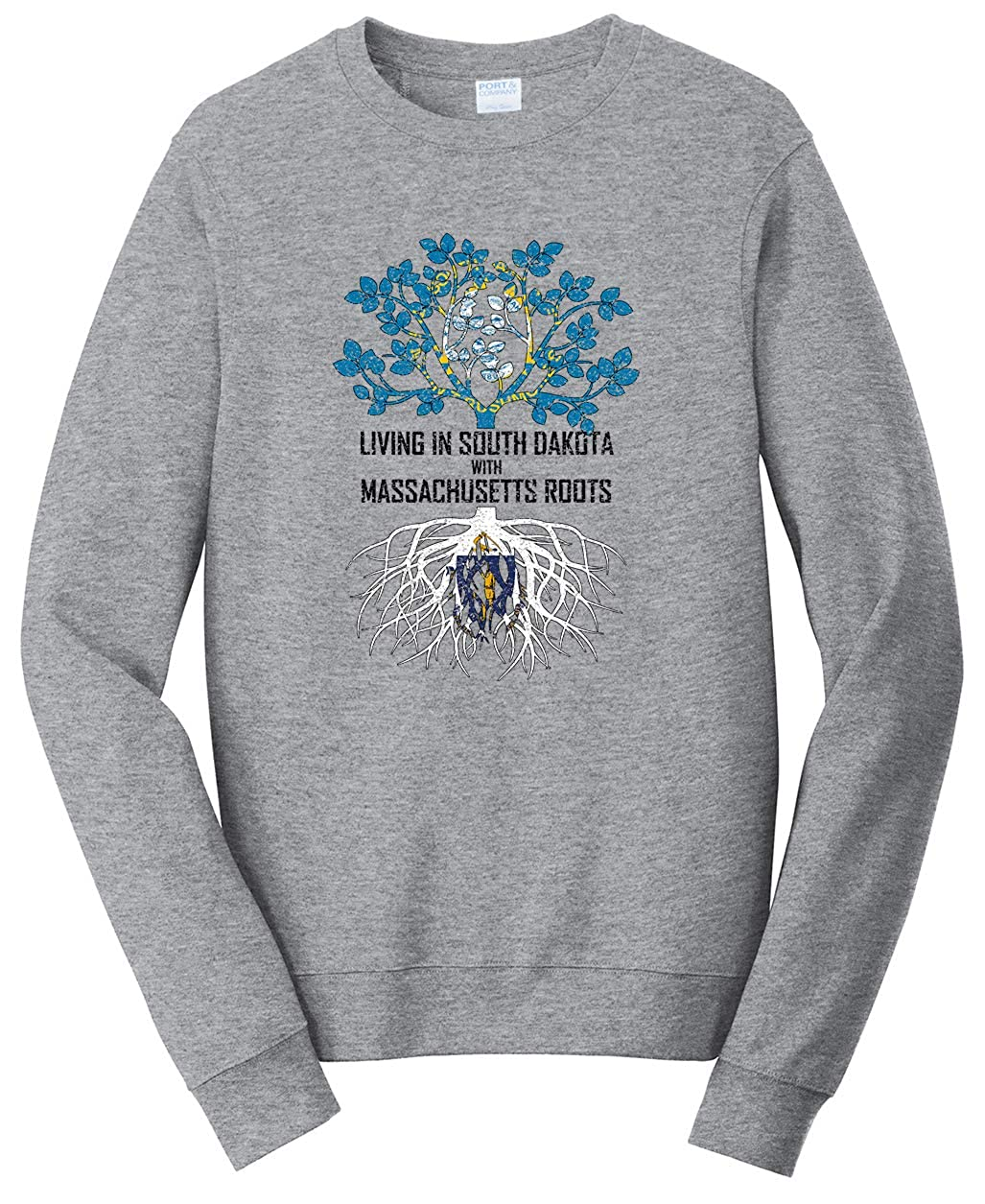 Tenacitee Unisex Living in South Dakota Massachusetts Roots Sweatshirt
