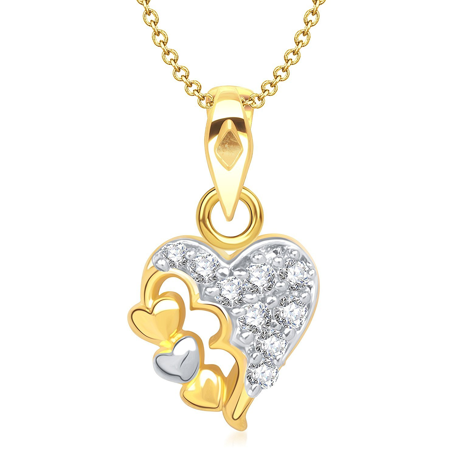 Ashley Jewels Simulated Diamond Studded Fashion Pendant Necklace in 14K Yellow Gold Plated With Box Chain