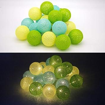 Tronje LED 20 Bolas de Algodón Luces 6cm 4h Temporizador 3,8m Guirnalda de luz Amarillo-Verde funciona con Pilas: Amazon.es: Bricolaje y herramientas