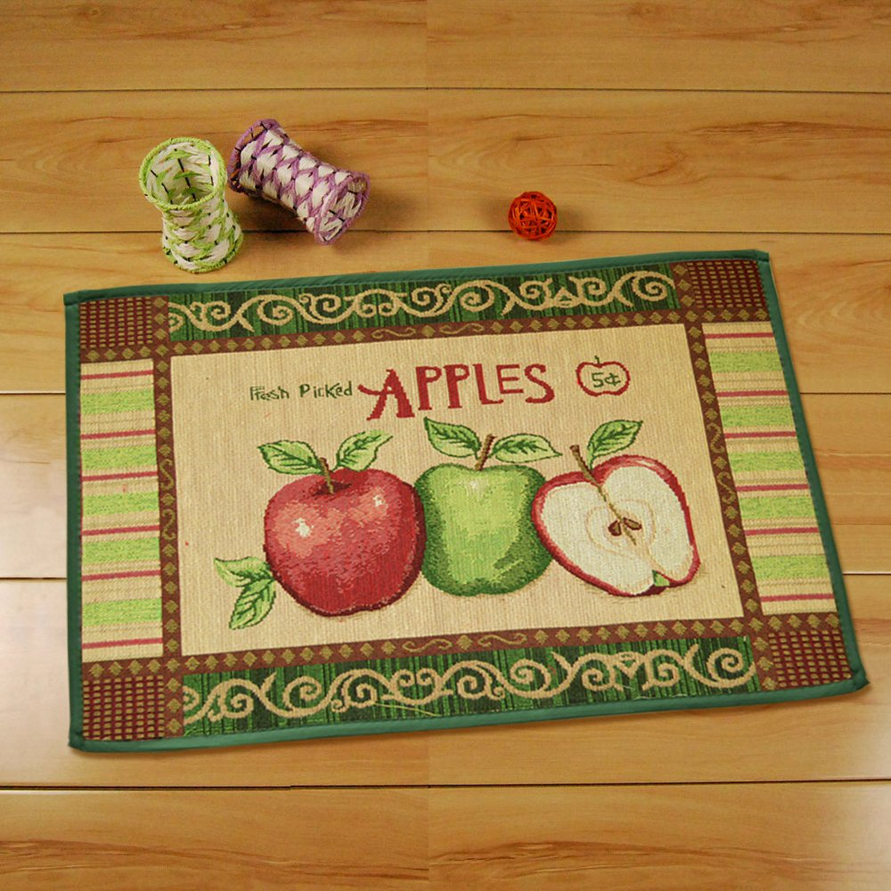 yazi Vintage Apples Jacquard Cotton Fiber Rectangular Bedroom Floor Mat Doormat,17x23 Inch