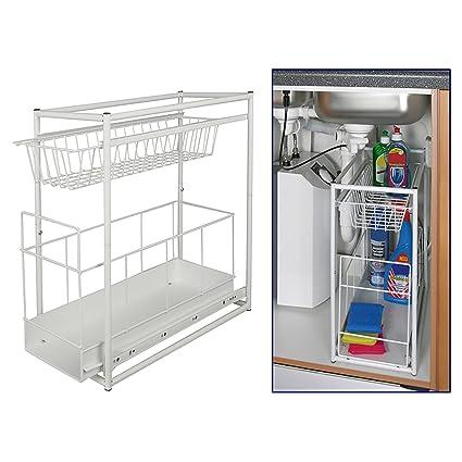 Elemento da incasso per armadio sotto lavello, elemento estraibile per  cucina, elemento per armadio, cassetto telescopico