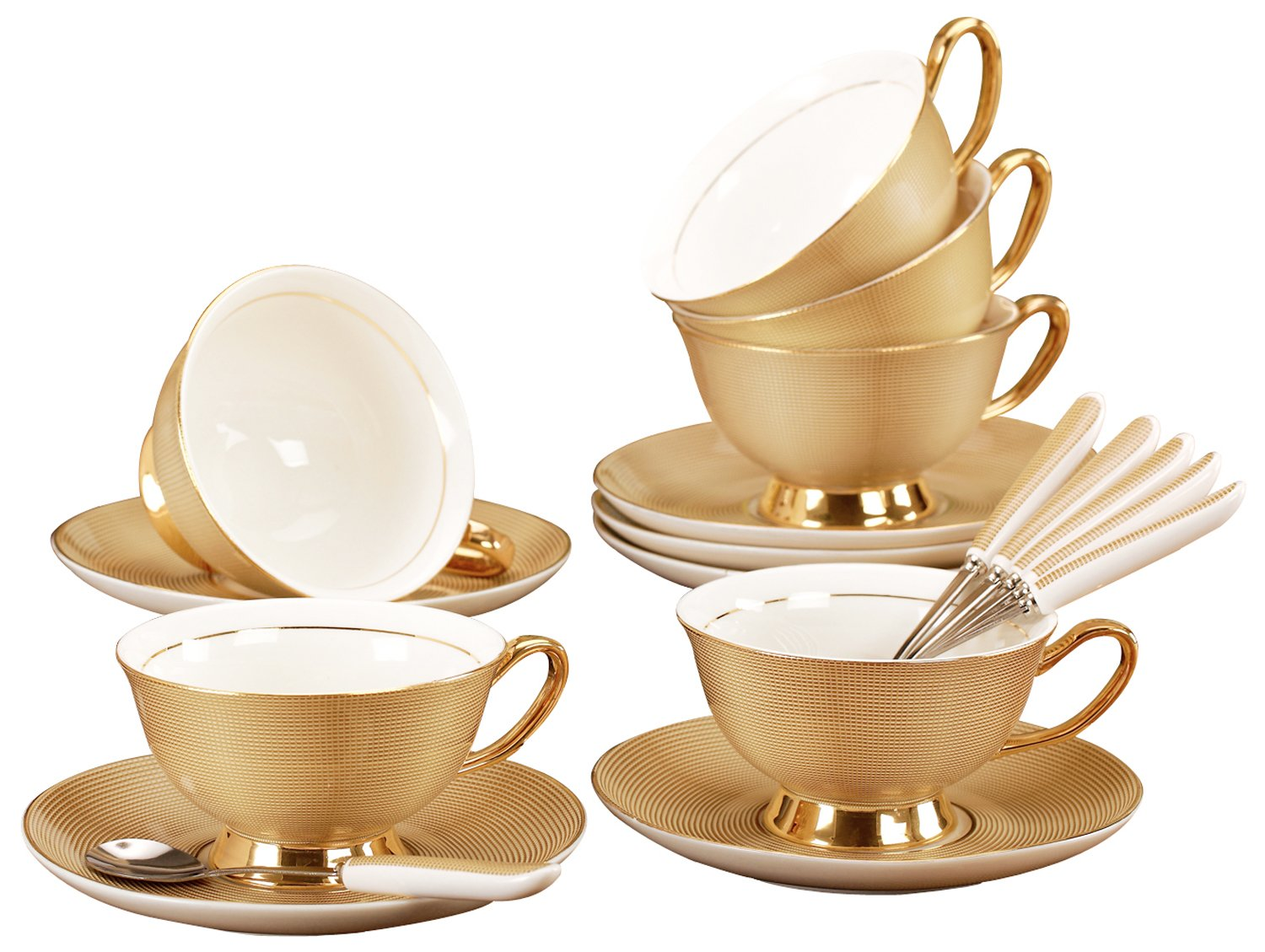 Jusalpha Fine China Tea Cup and Saucer Coffee Cup Set with Spoon FD-TCS09 (Set of 6)