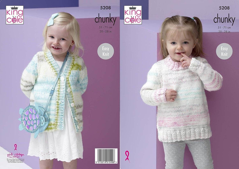 King Cole Girls Chunky Knitting Pattern Easy Knit Sweater /& Cardigan 5208