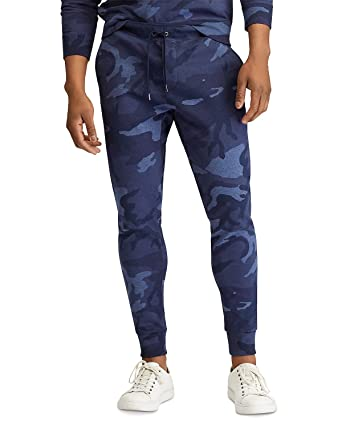 bce9e2374 Ralph Lauren Polo Men s Camo Double-Knit Jogger Sweatpants (Blue Camo