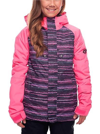 dd5904acbff64 686 Girls' Dream Insulated Waterproof Ski/Snowboard Jacket| Hibiscus Stripe  - XL