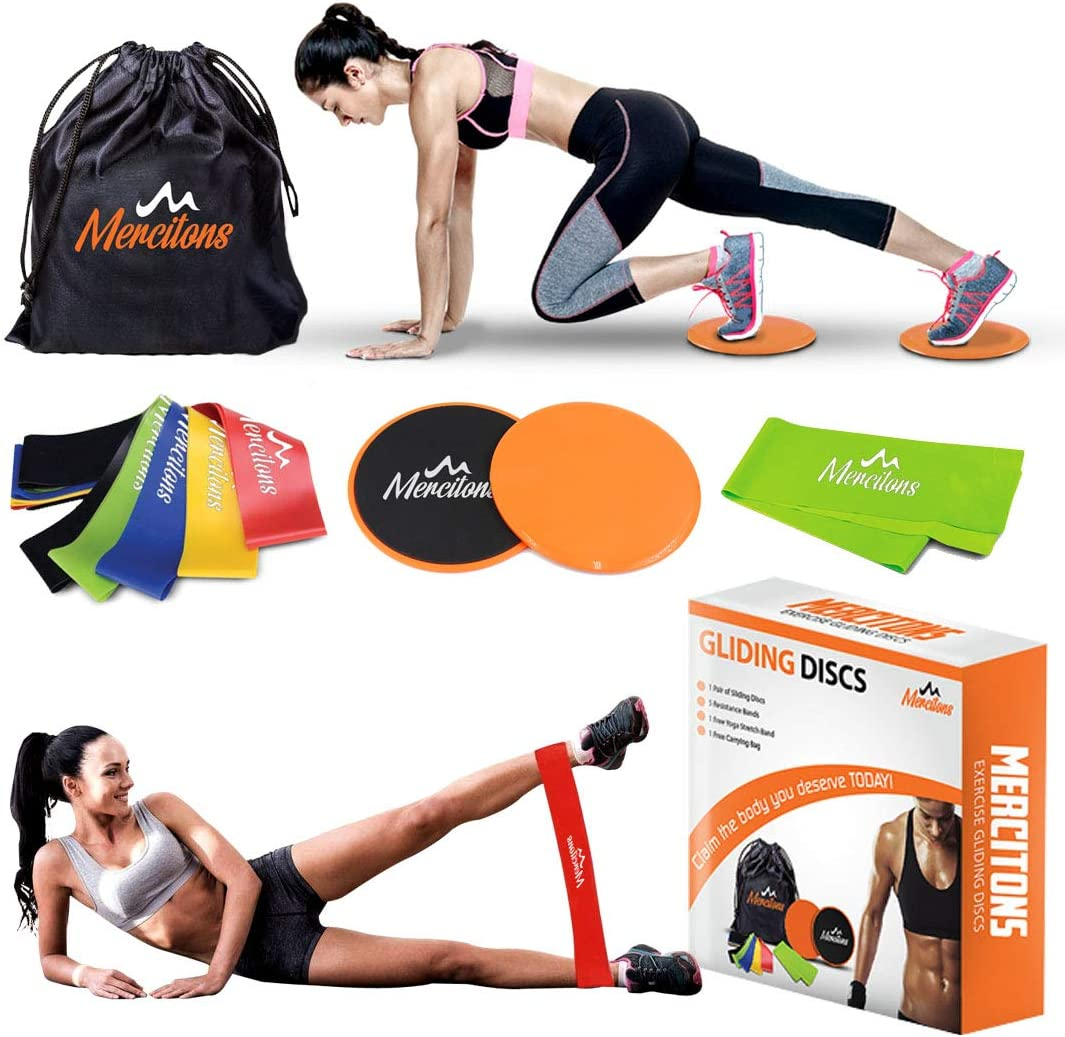 Dual Sided Gliding Discs Core Sliders Exercise with 6 Resistance Bands for Women – Home Full Body Workout – use it on Carpet Hardwood Floors – Abdominal Exercises for Optimal Fitness and Health