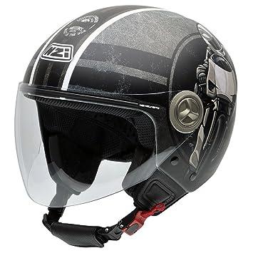 NZI 050256G587 Helix IV Freedom Motors Casco de Moto, Ilustración De Motorista, Gris y