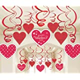 "Amscan Blushing Valentine's Foil Swirl Party Decoration (30 Piece), 7"", Red/ White"