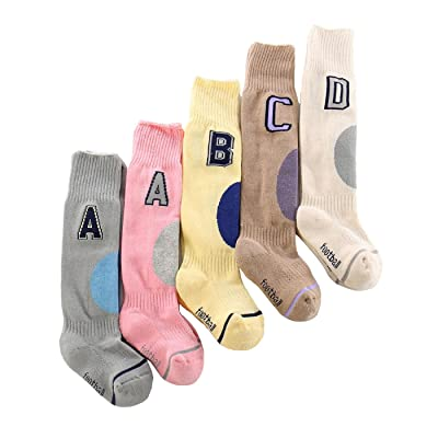 5 Pack Letter Printed Cotton Knee High Stockings Thickened Tube Socks For 1~3 Year Kids