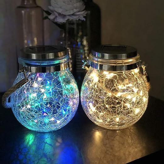 Mr.do® Lámparas Solares para Exterior Luz de Jardín Navidad Hadas Linternas Diseño de Grietas Jarra de Vidrio 30 LED Impermeable la Decoración de Partido Patio 2 Unidades, Luz Cálida y Luz Colorida: