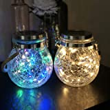 Mr.do® Solar Lights Outdoor Fairy Garden Christmas Lanterns Light Crack Design Glass Jar 30 LED Waterproof Hanging Lamp…