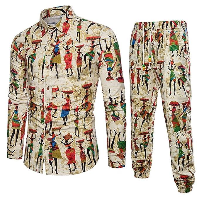 Camisas para Hombre + Pantalones Estilo Folk-Custom Casual Manga Larga Negocio Slim Fit Estampado Blusas Tops: Amazon.es: Ropa y accesorios