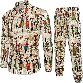 Internet—Conjunto de Estampado étnico para Hombre, Camiseta de Manga Larga, Camisa de algodón y Lino, Pantalones Sueltos, Pantalones Casual, Pantalones Anchos,Camisa + Pantalon(Amarillo M-5XL): Amazon.es: Ropa y accesorios