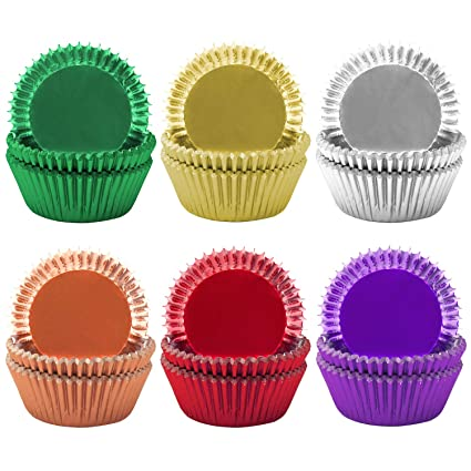 Amazon.com: Elcoho 300 Pieces Foil Cupcake Liners Rainbow Cupcake Liners Foil Metallic Cupcake Liners Muffin Paper Cases Baking Cups,6 colors: Home & ...