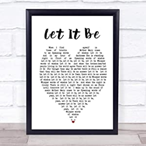 "123 BiiUYOO The Beatles Let It Be Heart Song Lyric Quote Print with Frame 14"" x 11"" Inches"