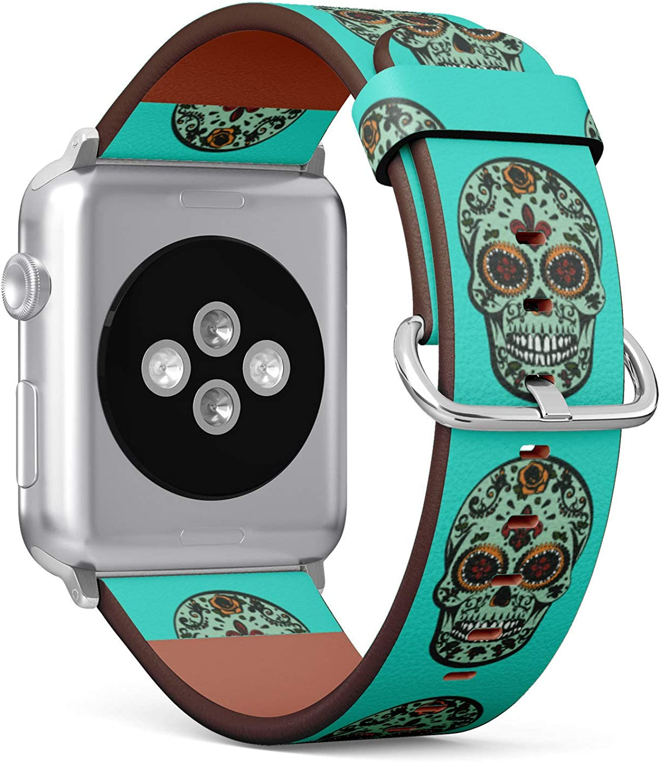 (Sugar Skull Turquoise Background) Patterned Leather Wristband Strap for Apple Watch Series 4/3/2/1 gen,Replacement for iWatch 42mm / 44mm Bands