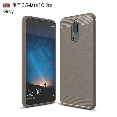 Funda Huawei Mate 10 Lite, CaseLover Carcasa Huawei Mate 10 Lite Suave Premium TPU Silicona Fibra De Carbono Protectora Caso Ultra Delgado Flexible ...