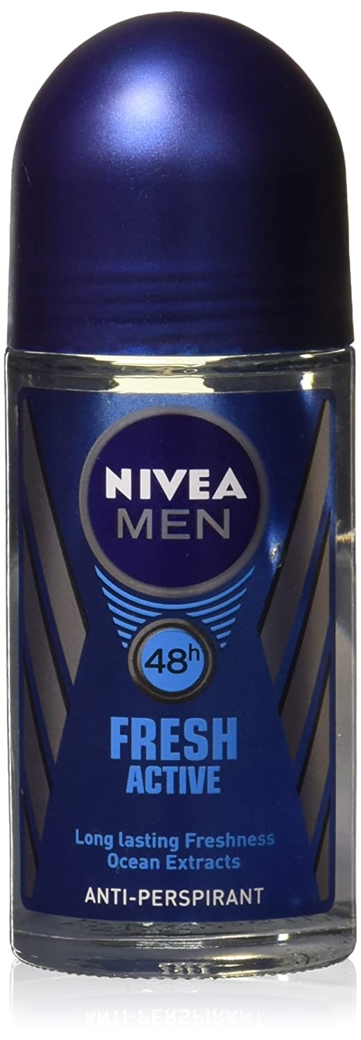 (Pack of 3 Bottles) Nivea FRESH ACTIVE Men's Roll-On Antiperspirant & Deodorant. 48-Hour Protection Against Underarm Wetness. (Pack of 3 Bottles, 1.7oz/50ml Each Bottle)